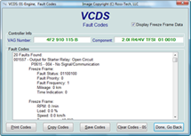 VCDS Fault Code読み出し画面