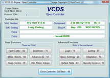 VCDS Open Controllaer画面